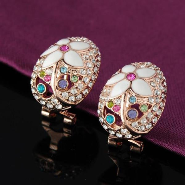 Ronux Jewel women fashionable cheap Bridal set, colourful flower shape rose gold stud earrings