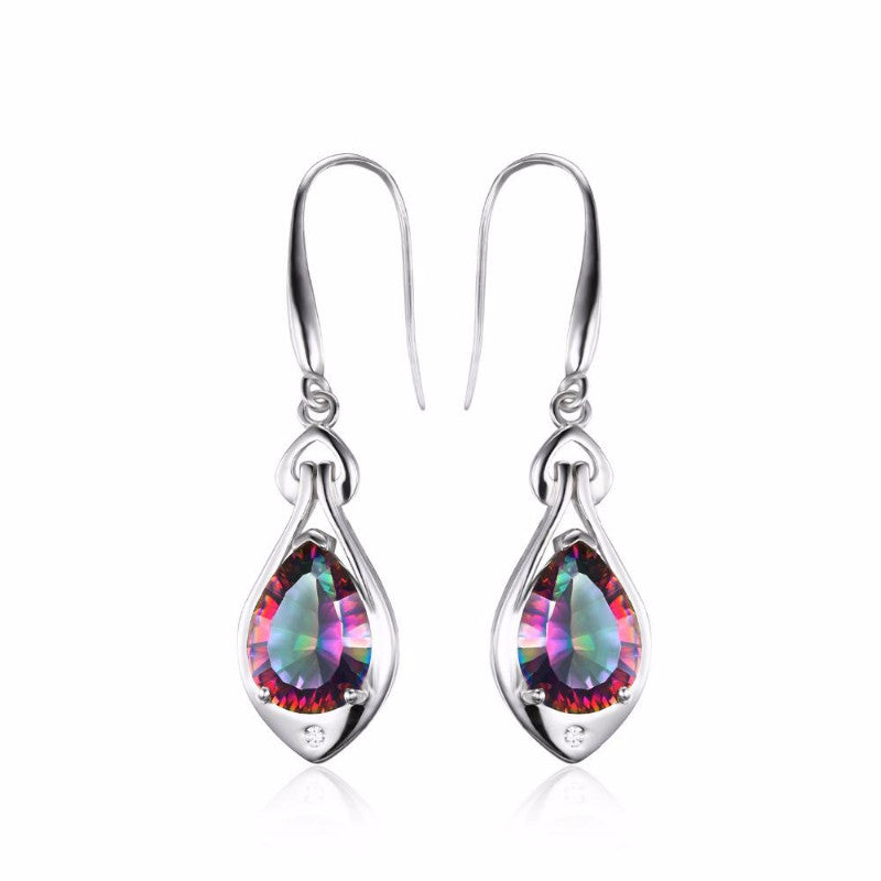 Ronux jewel 925 sterling silver drop earrings with colourful rainbow natural mystic topaz, gemstone earrings