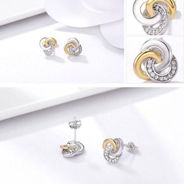 Ronux jewel women 925 sterling silver love knot gold and silver stud earrings, interlinked circles gold and silver cubic zirconia stud earrings