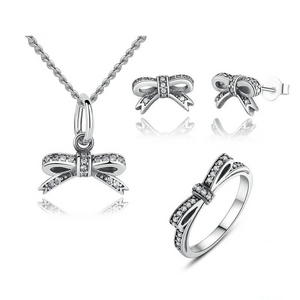 Ronux Jewel women bow shape 3 piece jewellery gift set including pendant necklace, ring and stud earrings