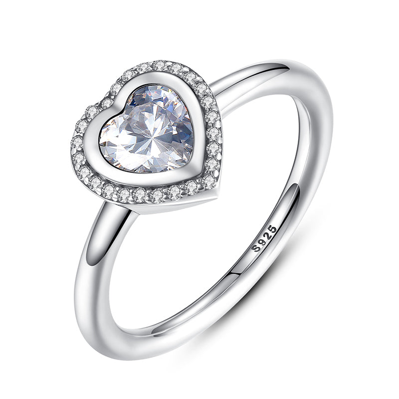 Ronux jewel 925 sterling silver promise ring with sparkling cubic zirconia heart