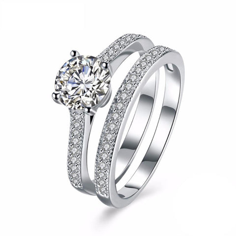 Ronux jewel women 925 sterling silver luxurious wedding ring set with cubic zirconia stone, bridal jewellery