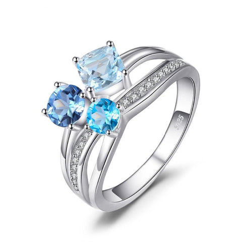 Ronux jewel, women 925 sterling silver luxury blue Topaz gemstone engagement ring