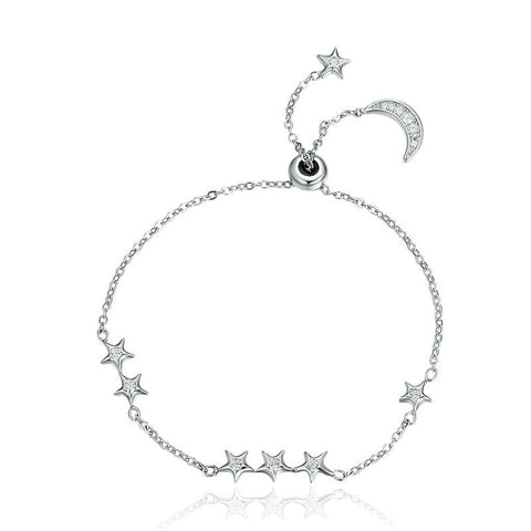 Ronux jewel women 925 sterling silver moon and stars sparkling bracelet, friendship crescent bracelet