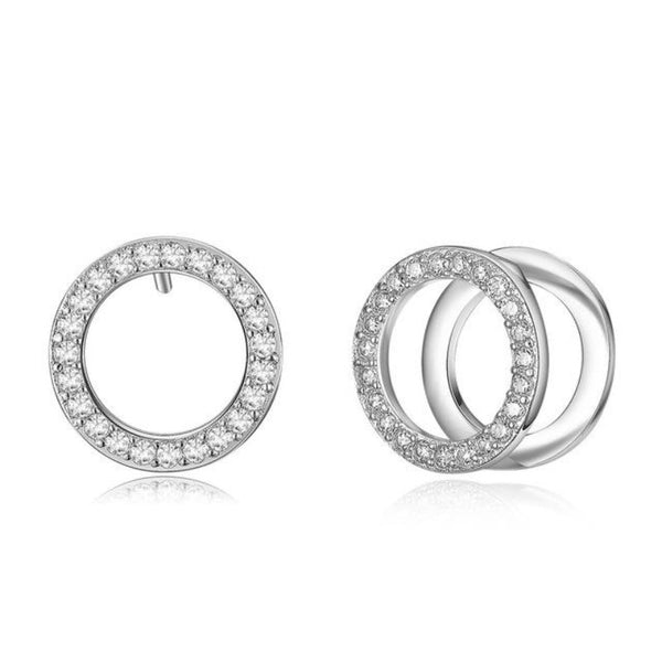 Ronux jewel women fashion double circle silver hoop stud earrings with rhinestone