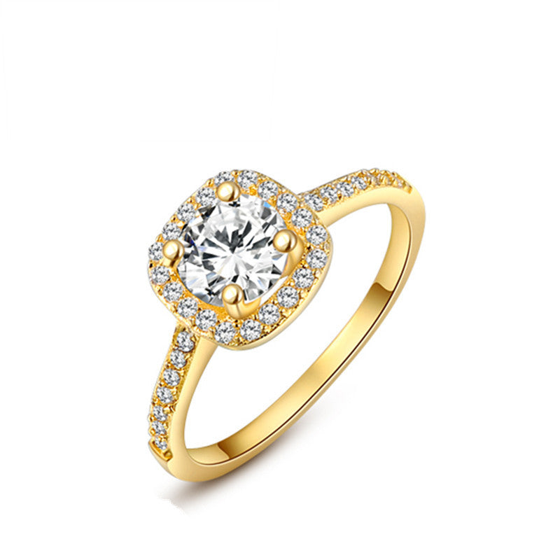 Ronux Jewel affordable fashionable women gold wedding and engagement classic ring with cubic zirconia gemstone