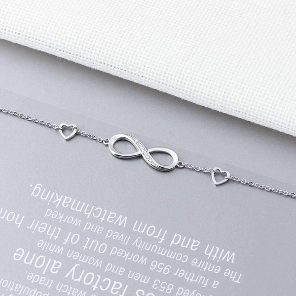 Ronux jewel, women 925 sterling silver infinity bracelet with 2 dainty hearts, friendship bracelet