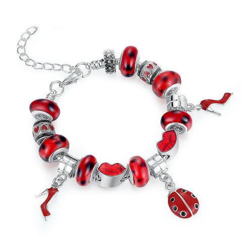 Ronux jewel lady bird and red lip and high heels beads charm bracelet for women, friendship bracelet