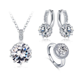 Ronux Jewel women trendy bridal jewellery set, Silver crystal classic round shape 3 piece Jewellery Set including pendant necklace, ring and earrings