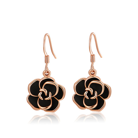 Ronux Jewel women rose gold black rose flower shape drop earrings for everyday wear, rose gold flower drop earrings