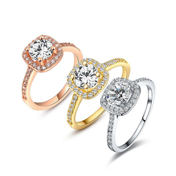 Ronux Jewel affordable fashionable women silver gold rose gold wedding and engagement classic ring with cubic zirconia gemstone