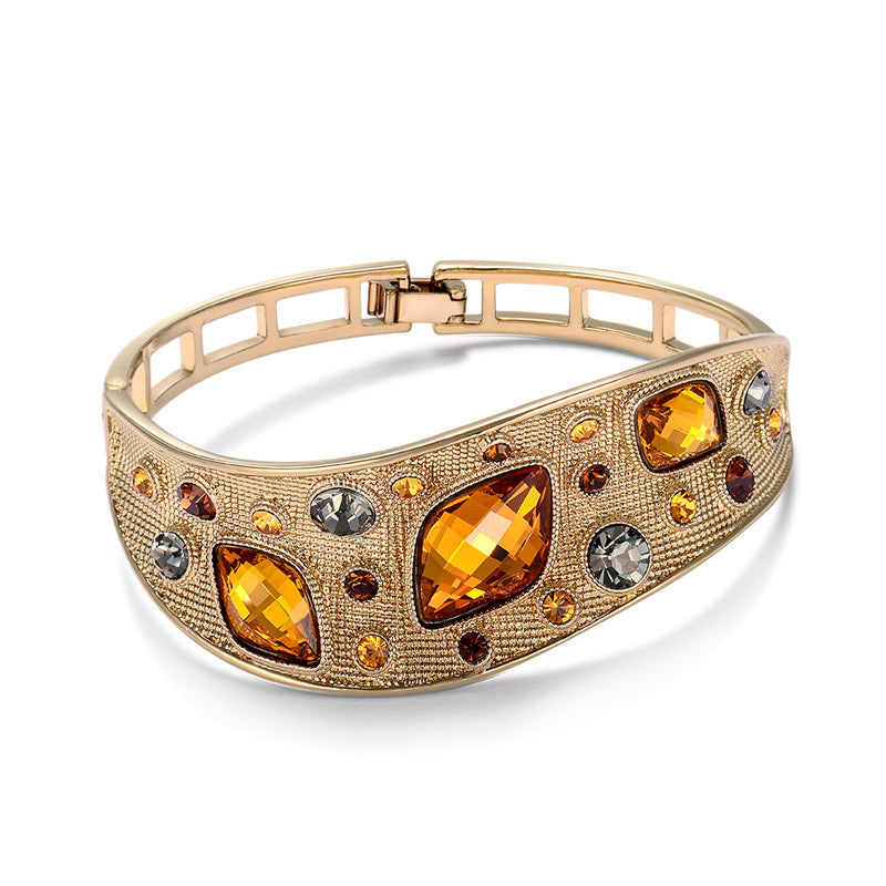 Ronux jewel fashionable coffee gold vintage thick bangle with orange crystals and colourful rhinestones for women