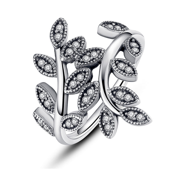 Ronux jewel women 925 sterling silver ring with cubic zirconia leaves