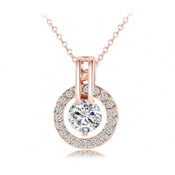 Ronux Jewel Rose Gold classic round shape crystal pendant necklace