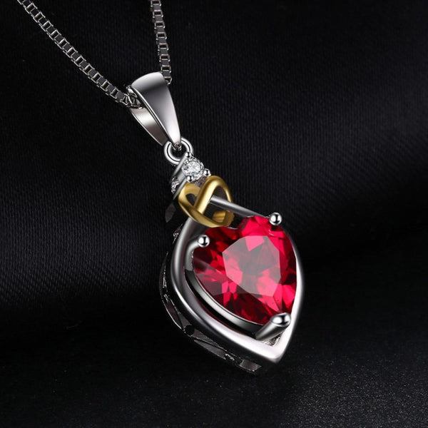 Ronux Jewel bridal gemstone jewellery gift set, sterling silver luxurious heart shape red ruby pendant necklace