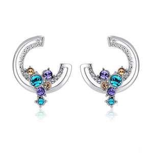 Ronux jewel Trendy luxury unique screw back Moon crescent Stud Earrings with Hanging Colourful Rhinestones for women