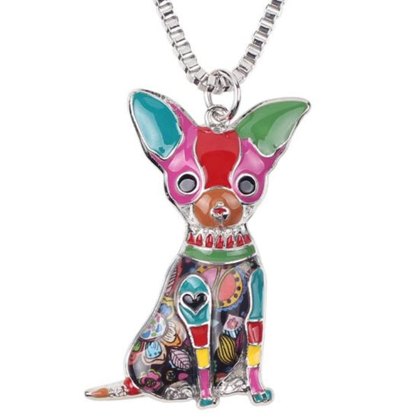Ronux Jewel affordable unique cute Chihuahua dog pendant long chain necklace for girl and women and animal lovers
