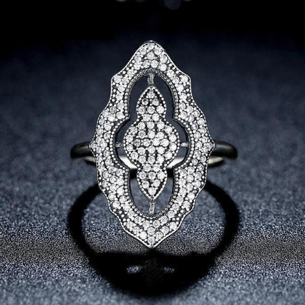 Ronux jewel 925 sterling silver ring with large lace cubic zirconia rhombus, affordable engagement ring, wedding ring