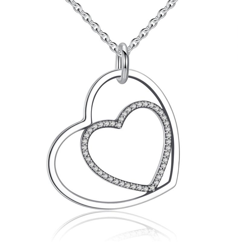 Ronux jewel 925 sterling silver two linked hearts pendant necklace for women