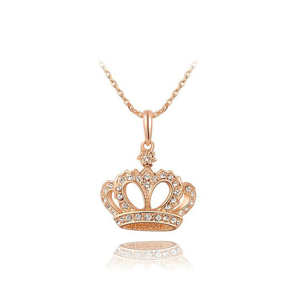 Ronux Jewel affordable trendy women crown shape rose gold pendant necklace
