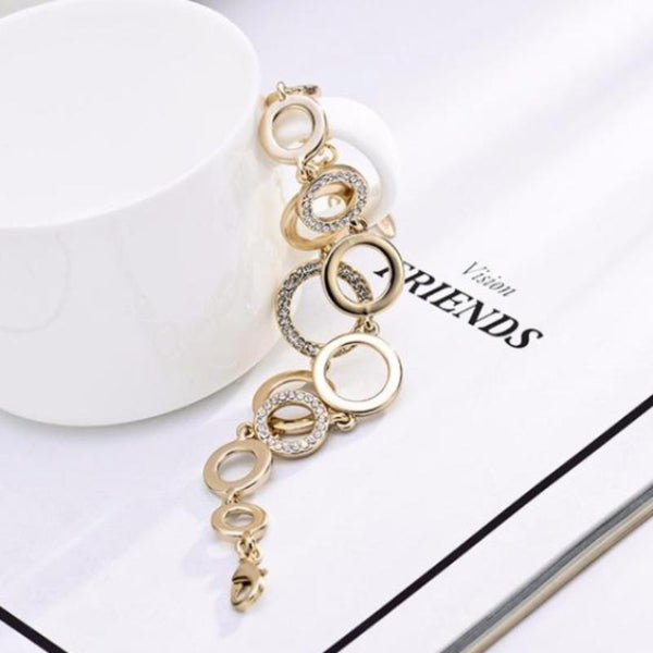 Ronux jewel women elegant double layer round bracelet in light gold, trendy Double Layer Chain Bracelet