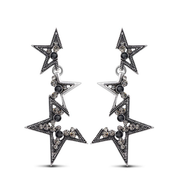 Ronux jewel modern linked stars silver drop earrings, vintage long earrings for women