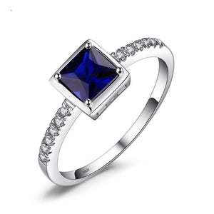Ronux jewel women 925 sterling silver classic wedding and engagement ring with cubic blue sapphire gemstone, bridal fine jewellery