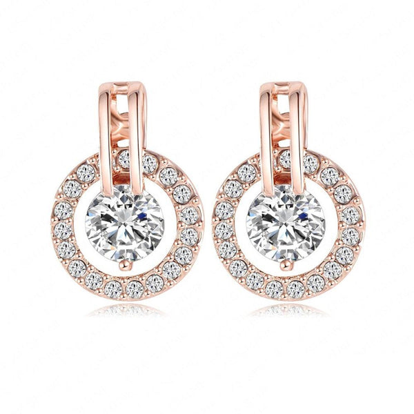 Ronux Jewel Rose Gold classic round shape crystal earrings