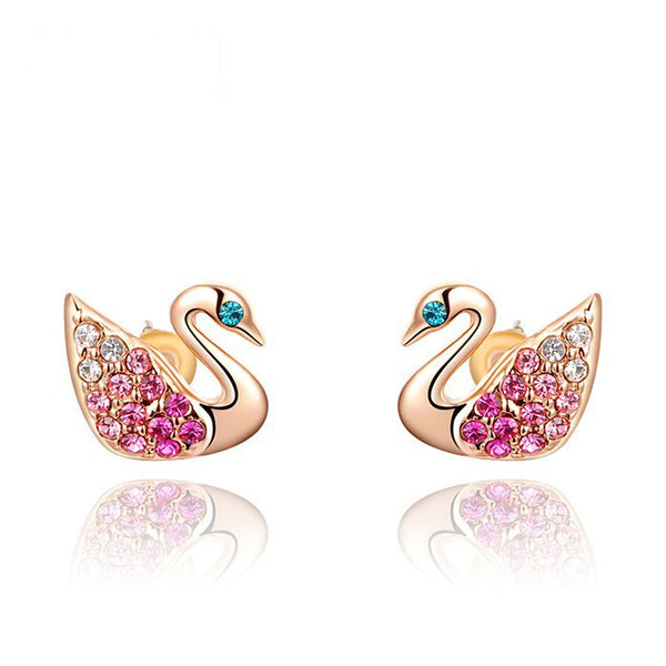 Ronux Jewel fashion small stud earrings, animal lovers cute earrings, women swan bird shape rose gold stud earrings with pink crystals