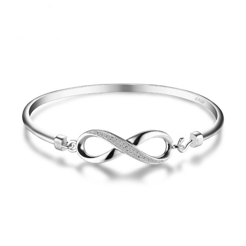 Ronux jewel women sterling silver luxurious infinity forever love bangle bracelet, affordable fashion bangle in London UK