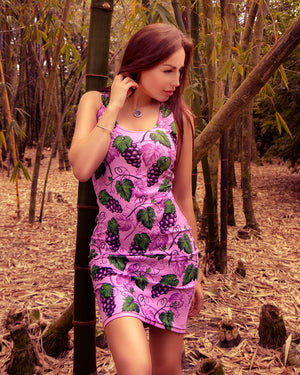 Grape Themed Pink Colored Sublimation Comfort Stretch to Perfect Fit Cut & Sew Women's Dress - vegan-styles