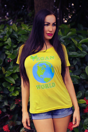 """Vegan World"" Ladies' Scoopneck T-Shirt - vegan-styles"