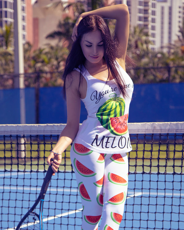 """Watermelon"" White Capri Leggings - vegan-styles"