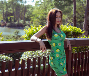 """Lemons"" Green Sublimation Cut & Sew Dress - vegan-styles"