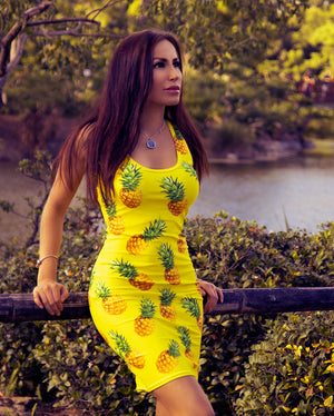 """Pineapple"" Yellow Dress - vegan-styles"