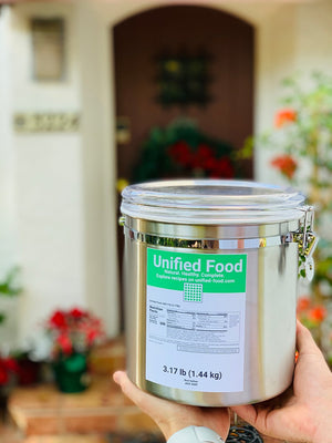 Unified Food, waste free reusable canister, 3.17 lb (6000 Calories) - vegan-styles