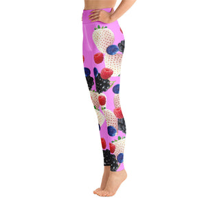"""Berry"" Pink Yoga Leggings - vegan-styles"