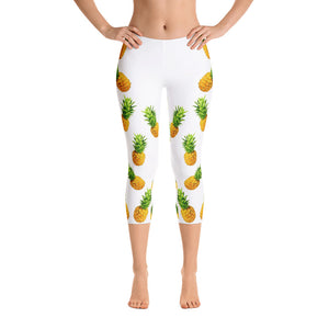 """Pineapple"" White Capri Leggings - vegan-styles"