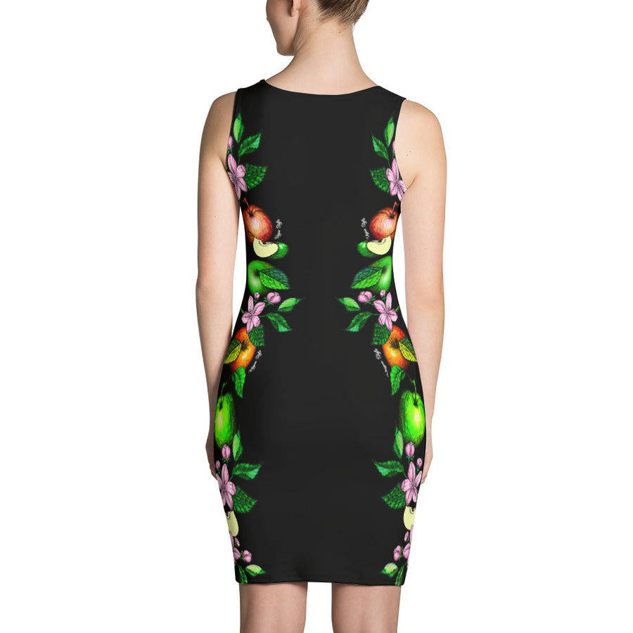 "Vegan-Styles ""Apples"" Black Sublimation Cut & Sew Dress - vegan-styles"