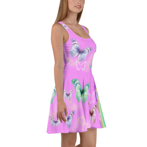 """ Butterflies "" Pink Skater Dress - vegan-styles"