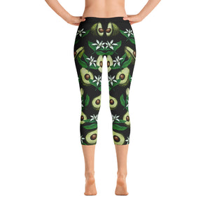 """Avocado Black"" Capri Leggings - vegan-styles"