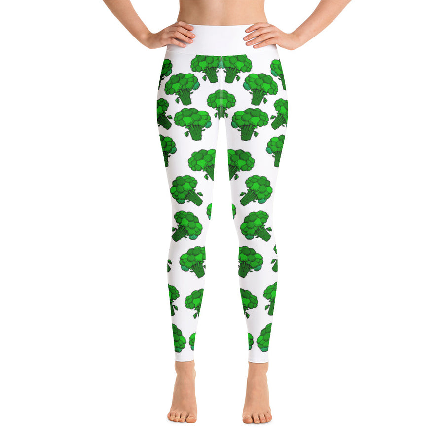 """Broccoli"" White Yoga Leggings - vegan-styles"