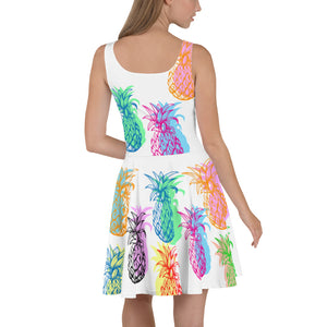 """Pineapple"" White Skater Dress - vegan-styles"