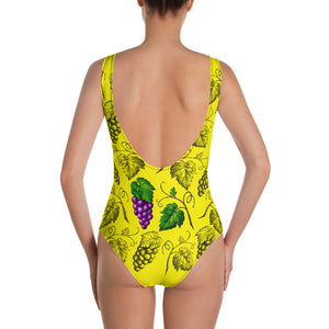 """Grapes"" Yellow One-Piece Swimsuit - vegan-styles"