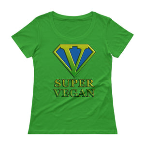 Super Vegan Ladies Scoopneck Cotton Pre Shrunk T-Shirt - vegan-styles