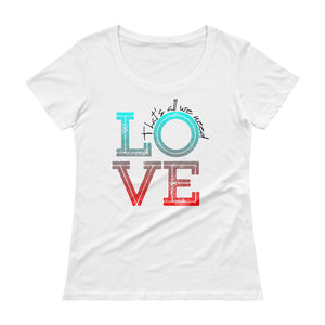 "Vegan-Styles ""Love"" Ladies' Scoopneck T-Shirt - vegan-styles"