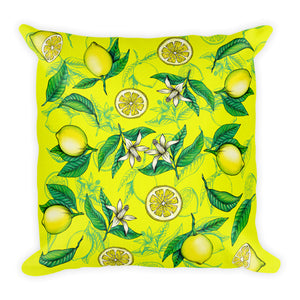 """Lemons"" Yellow Premium Pillow - vegan-styles"
