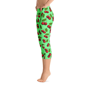 """Cherry"" Green Capri Leggings - vegan-styles"