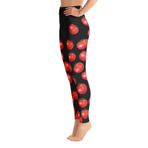 """Tomato"" Black All-Over Print Yoga Leggings - vegan-styles"