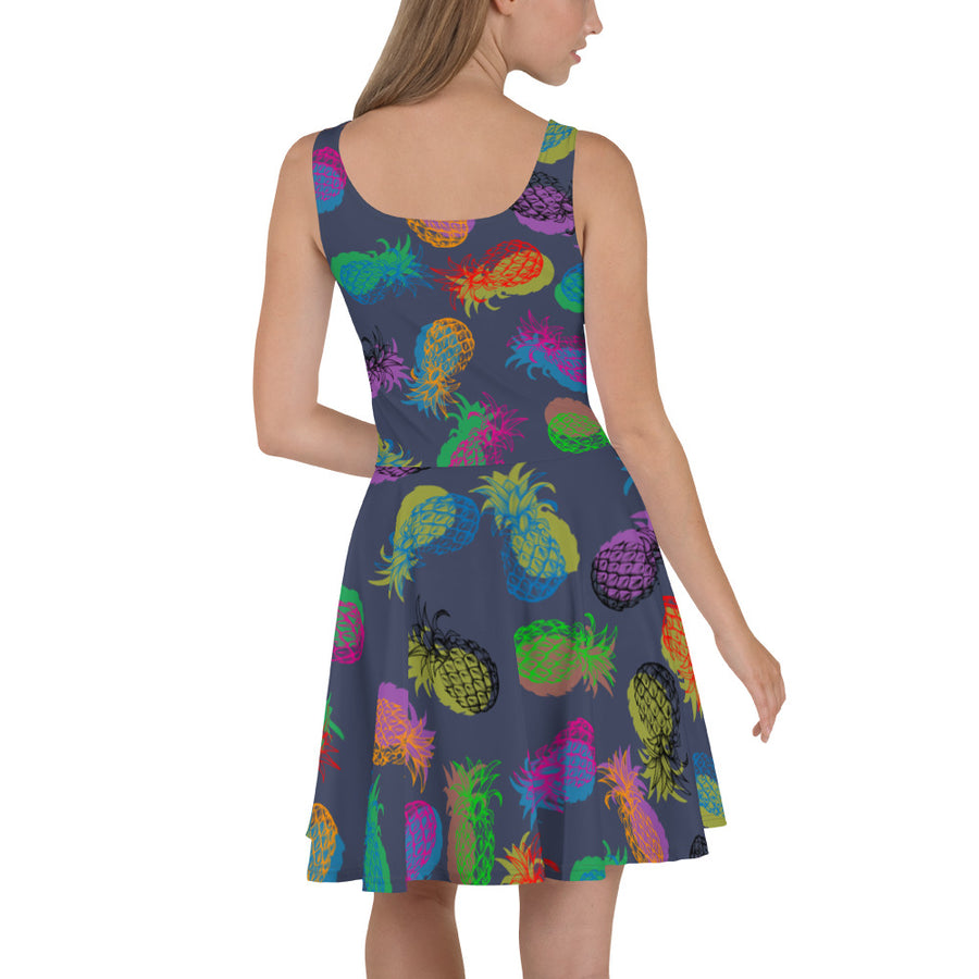 '' Pineapples'' Skater Dress - vegan-styles